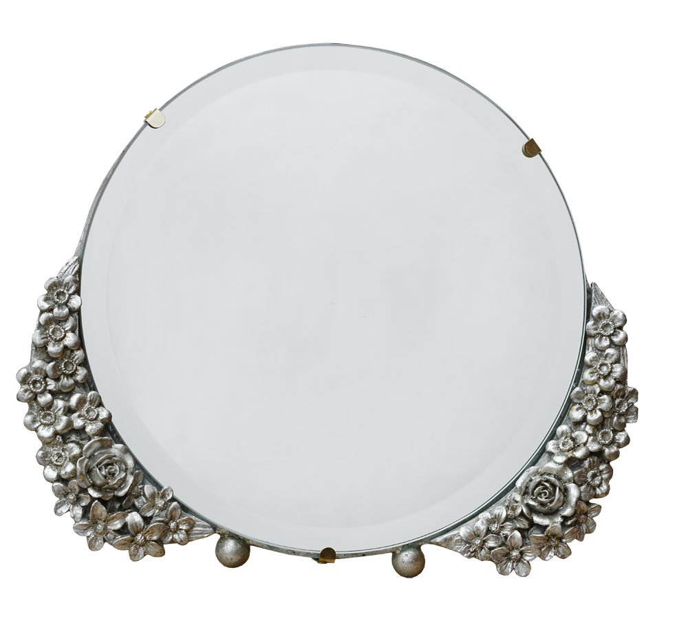 Barbola Floral Champagne Silver Round Table or Wall Mirror 25 x 21cm