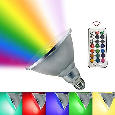 Color Changing Led Flood Light Bulb Par38 20w 16 4ft Long Distance Remote Control Rgb Weatherproof Led Light Bulb For Courtyard Landscape Decor
