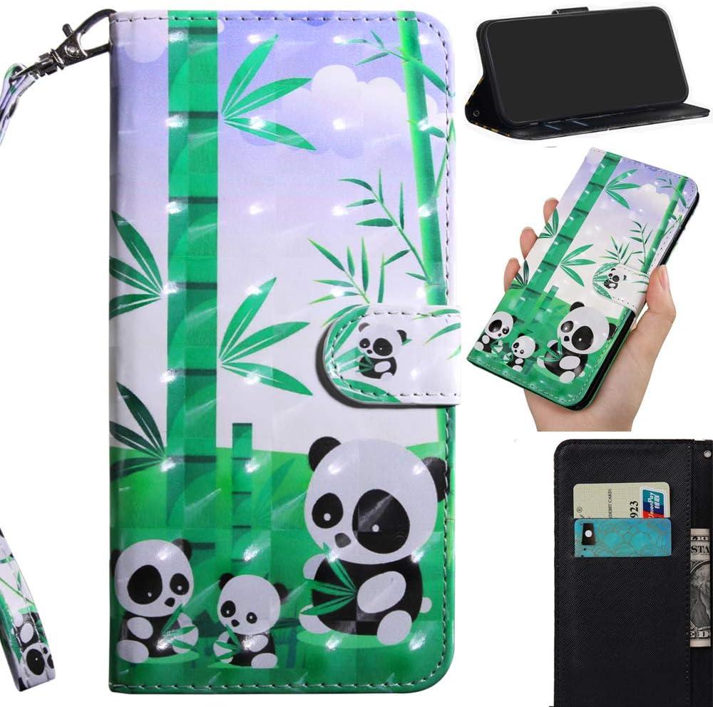DodoBuy 3D Funda para iPhone 5SE, Flip Wallet Case Cover Carcasa Piel PU Billetera Soporte Plegable con Ranuras Tarjetas Cierre Magnético Correa de Muñeca - Panda
