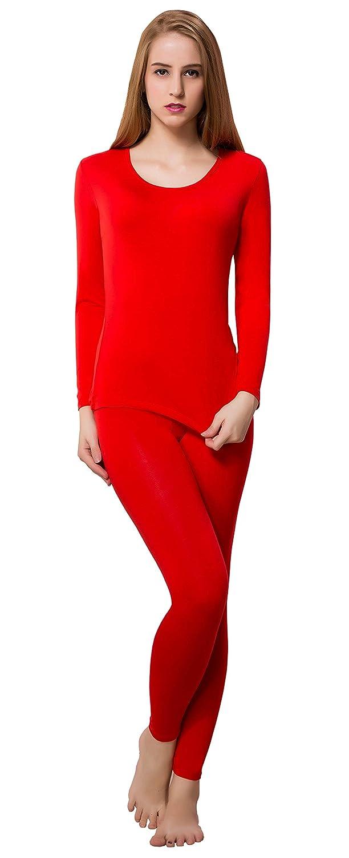 Women Base Layer Long Sleeve Ultra Thin Thermal Underwear Vest Set Top & Bottom
