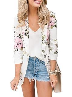 ASSKDAN Femme Blazer Jacket OL Veste Business Costume Blouson Imprimé  Léopard Gilet Ouvert Top Revers Outwear 29deeb676c58