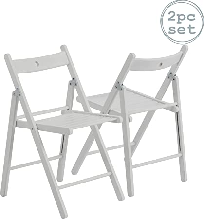 Silla plegable - Madera - Blanco - Pack de 2: Amazon.es: Hogar