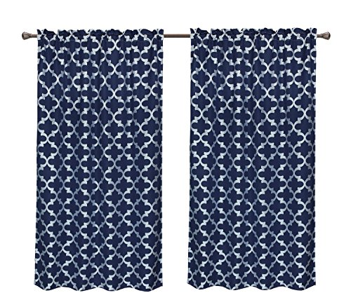 Pack 2 CaliTime Window Curtains Panels 55 X 84 Inches, Quatrefoil Accent Geometric, Navy Blue