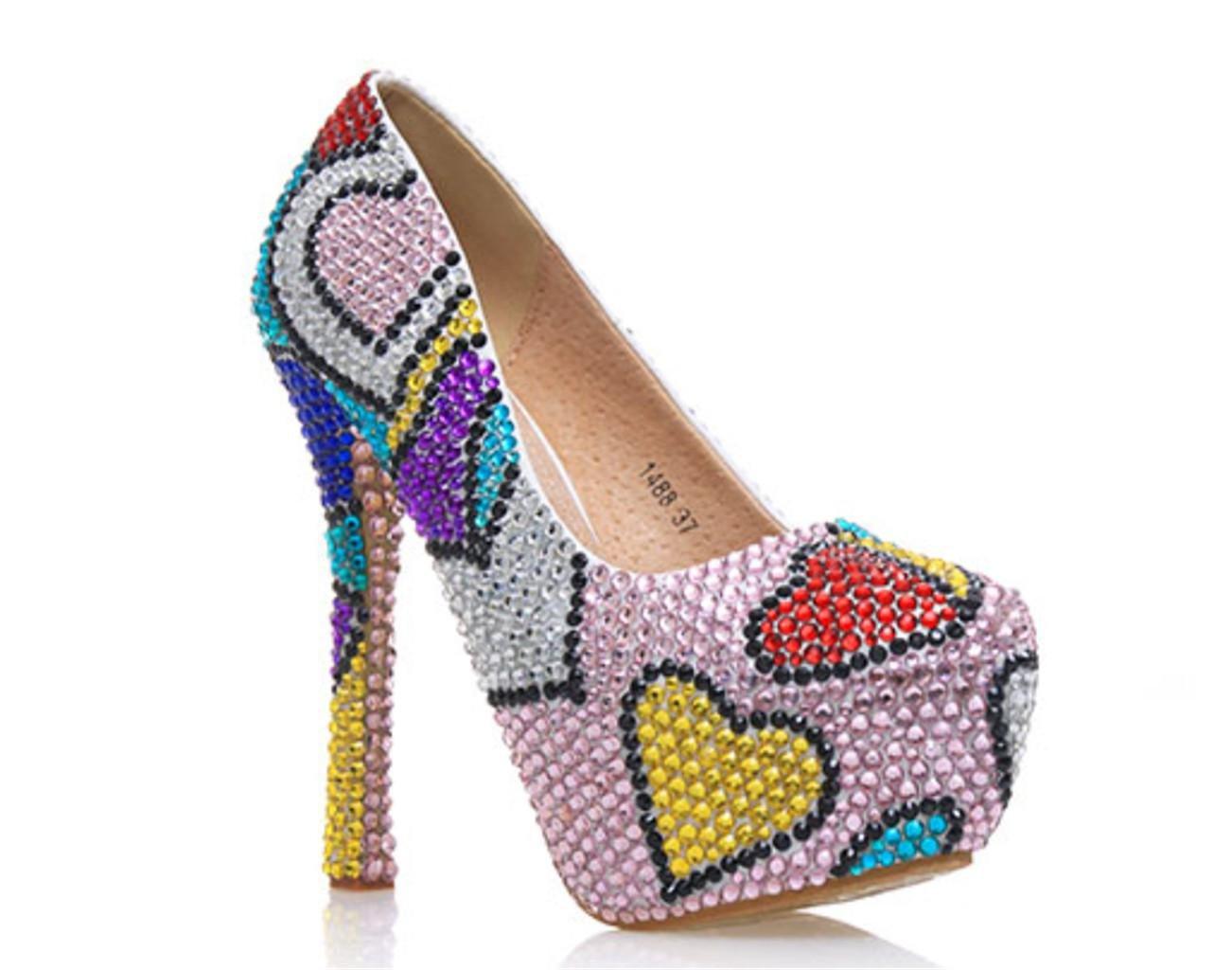 Kitzen Ladies Color Rhinestones Corte Zapatos Mujer DiseñAdor De Tacones Altos Plataforma De Encaje Partido Estiletto Novia De Novia De La Boda 36 EU|Color