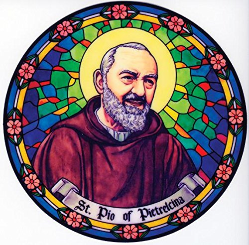 St. Padre Pio Window Decal, Reusable Vinyl Suncatcher, Stained Glass - Padre Store