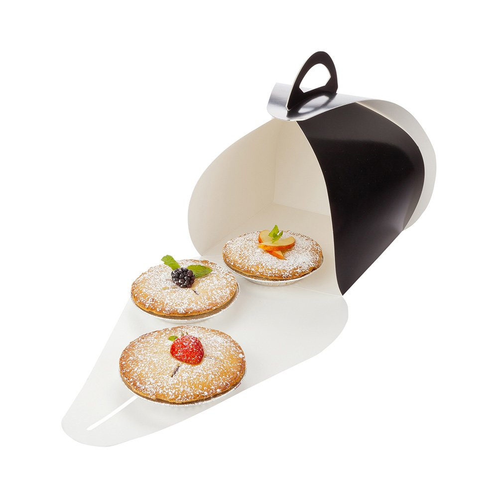 Pastry To Go Box, Cake To Go Box, Pie To Go Box with Handle - Lunch To Go Box - 6.5'' - Black - 100ct Box - Restaurantware by Restaurantware (Image #1)