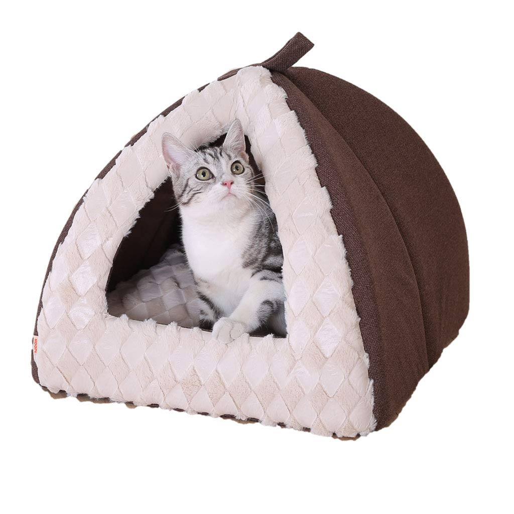 40cm Dog Bed cat mat Cat Nest Semi-Closed Foldable Detachable Cat House Pet Supplies Brown   40 45cm Four Seasons Universal Washable (Size   40cm)
