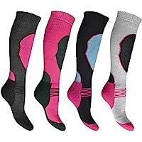 4 Pares de Calcetines de Esquí de Alto Rendimiento para Mujer - Con pernera larga - Térmicos - Surtidos - Tallas UK 4-7