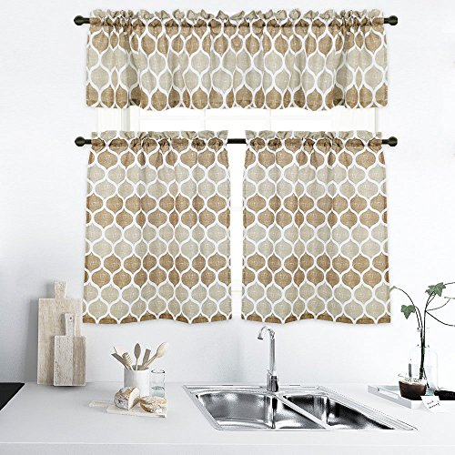CAROMIO Moroccan Pattern Print Kitchen Tiers and Valance Set Trellis Bathroom Window Curtains Short Curtains Set, 1 Valance, 2 Tier Panels (Taupe and White) ()