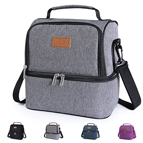 Lunch Bag Kit - Lifewit Insulated Lunch Box Lunch Bag for Adults/Men/Women/Kids, Water-Resistant Leakproof Cooler Bento Bag for Work/School/Picnic, Dual Compartment, 7L, Grey