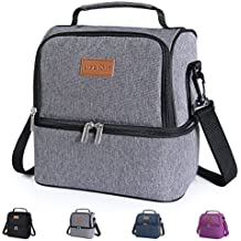 Lifewit Insulated Lunch Box for Adults / Men / Women / Kids, Waterproof Leakproof Thermal Lunch Bag, Cooler Bento Bag for Office / School / Picnic, 7L, Dual Compartment, Grey