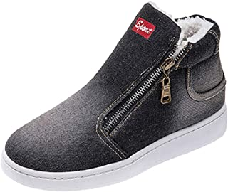 Moda Donna Stivali Autunno Neve Stivali Caldi Inverno Casual Punta Tonda Lettera Denim Spessore Zipper Up Sneakers Blu/Nero/Blu Scuro