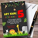Any Age Chalk Jungle Animals Childrens Birthday Party Invitations