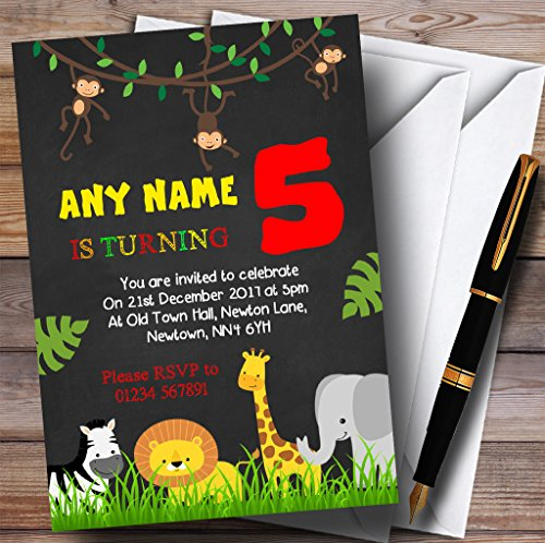 Any Age Chalk Jungle Animals Childrens Birthday Party Invitations by The Card Zoo