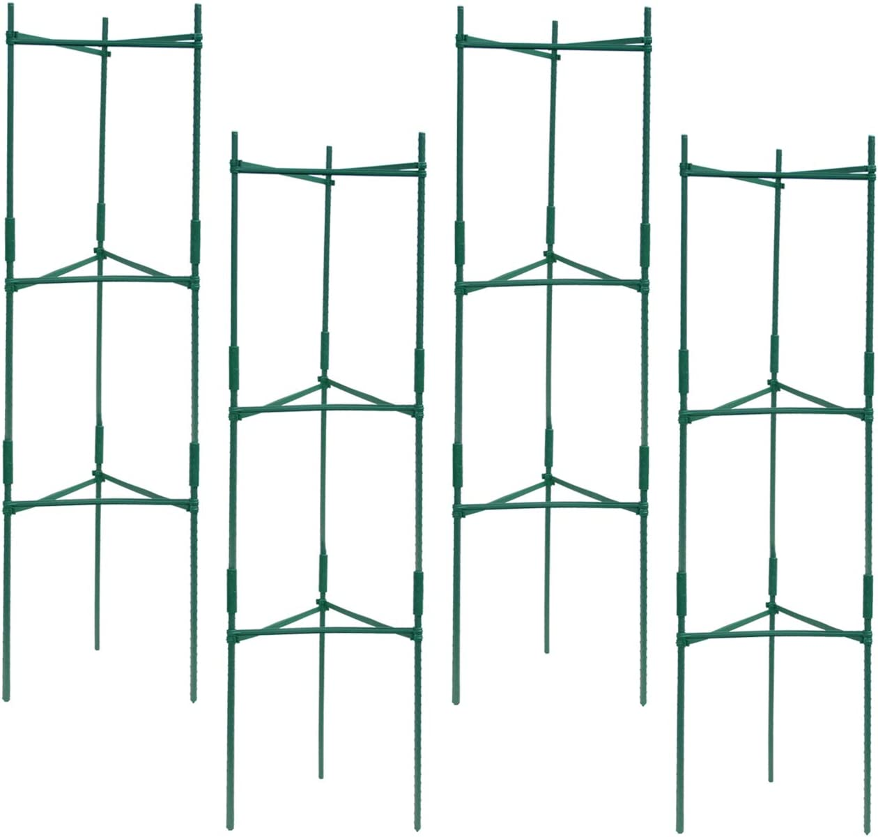 XINCHEN Plant Support Kit, 36PCS Steel Garden Tomato Stakes with 24PCS Rotatable Connection Tube 50PCS Metallic Twist Tie 4PCS Self Watering Spikes for Climb Plant