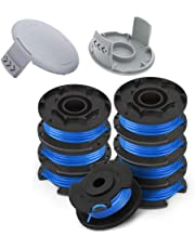"""AC14RL3A String Trimmer Replacement Spool Line 0.065"""" for Ryobi One+ 18V, 24V, and 40V Cordless Trimmers(8 Spools + 2 522994001 Caps) by TOPEMAI"""