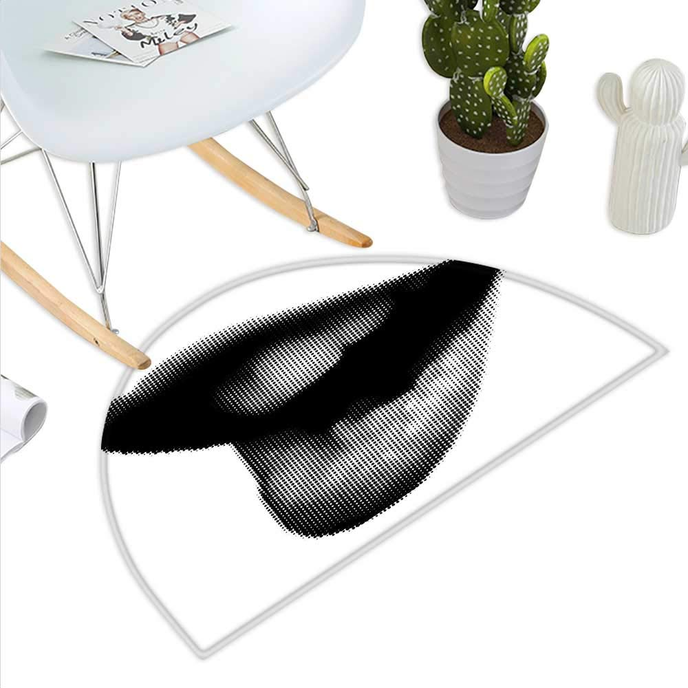 color08 H 27.5\ Modern Semicircle Doormat Digital Dotted Spotted Stylized Sexy Happy Woman Lips Contemporary Display Halfmoon doormats H 27.5  xD 41.3  Black Grey White