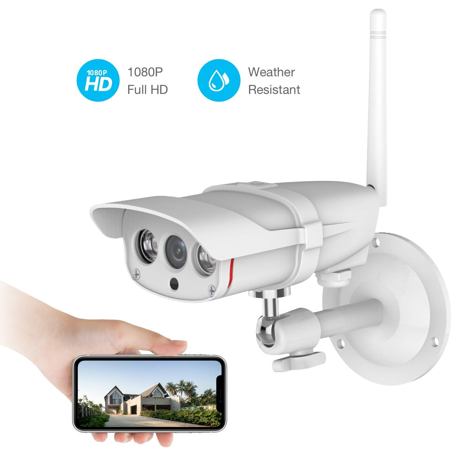 Outdoor Security Camera, Wonbo FHD 1080P Wireless IP Camera 2.4G WIFI Camera with IP67 Waterproof IR Night Vision Motion Detection Home Security Surveillance Camera System, iOS/Android