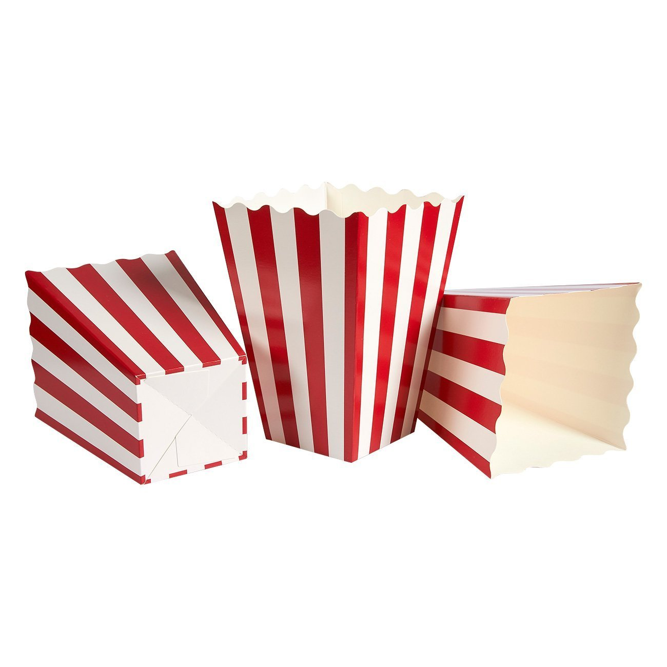 Set of 100 Popcorn Favor Boxes - Paper Popcorn Containers, Popcorn Party Supplies for Movie Nights, Movie-Themed Parties, Carnival Parties, Pirate Party, Red and White - 3.7 x 7.8 x 3.7 Inches by Blue Panda (Image #4)