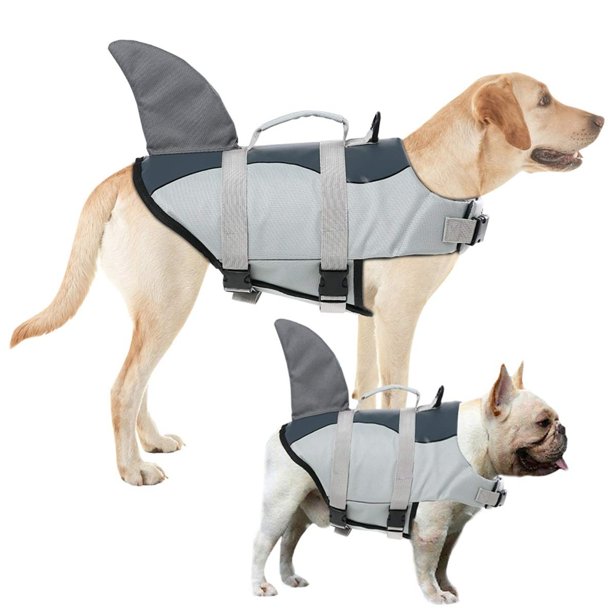 AOFITEE Dog Life Jacket Pet Safety Vest, Adjustable Dog Lifesaver Ripstop Pet Life Preserver with Rescue Handle for Small Medium and Large Dogs (Grey Shark, XL) by AOFITEE