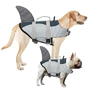 AOFITEE Dog Life Jacket Pet Safety Vest, Adjustable Dog Lifesaver Ripstop Pet Life Preserver with Rescue Handle for Small Medium and Large Dogs, 5 Sizes