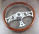 Steering Wheel & Hub Kit: 18'' Chrome Bettie Dark Wood (Peterbilt Kenworth more)