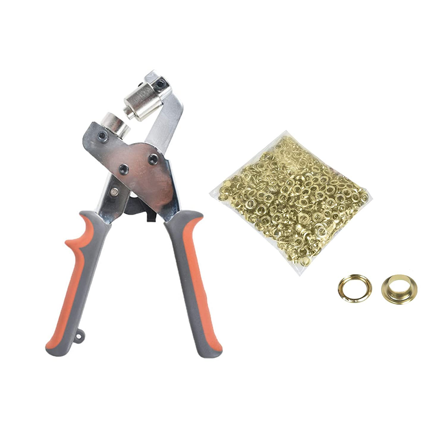 findmall 0.43 Inch Handheld Hand Press Portable Grommet Machine Hole Punch Tool W/ 500 Gold Grommets