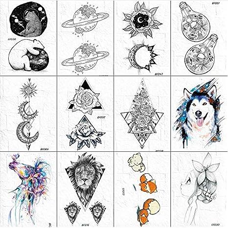 Oso Negro Planetas Tatuaje Temporal Pegatinas Mujeres Cuerpo Brazo ...
