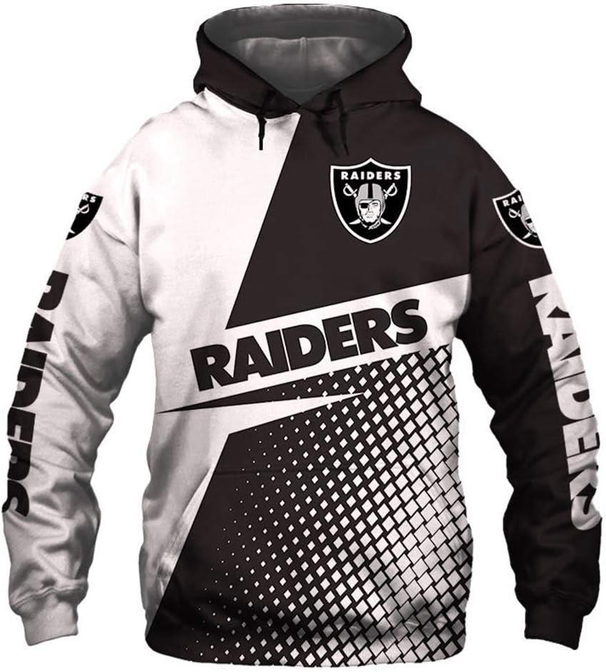 ATI-HSKJ Hoodies Oakland Raiders American Football Pullover American Football Union Jersey-Tops Rugby-Team-Logo Trainings Langarm-Kapuzenshirt,2XL