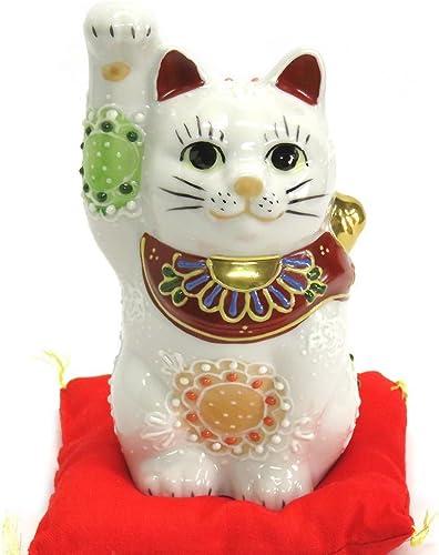 Kutani Japanese Maneki Neko Right Hand Lucky White Cat Ceramic
