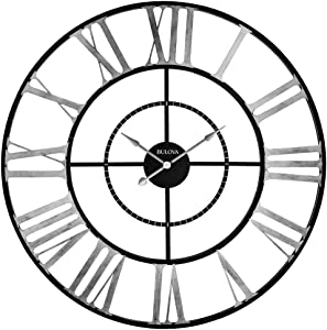 Bulova C4877 Zeeland Oversized Wall Clock, Black/Silver