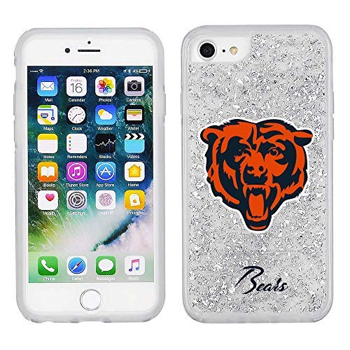 NFL Licensed Chicago Bears Clear Protective Silver Glitter Case - iPhone 8/7/6s/6