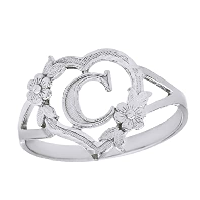 011d443419 CaliRoseJewelry Sterling Silver Initial Alphabet Heart Personalized Ring  (Size 4) - Letter C
