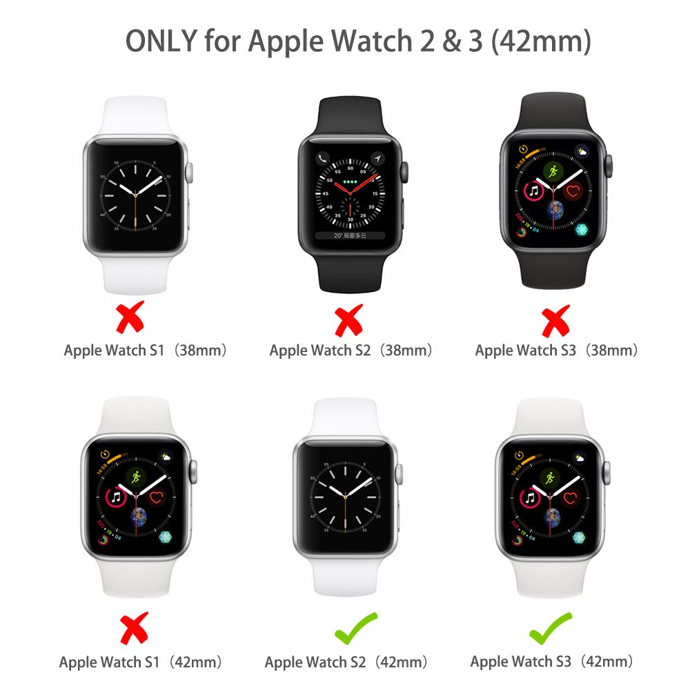[Waterproof Case for 42mm] AIUERU IP68 Waterproof Watch Case, Full Sealed waterproof iWatch Case with Resilient Shock Absorption for 42mm iWatch Series 3 and 2, Package with 2 Soft Silicone Watch Band by ShellBox (Image #2)
