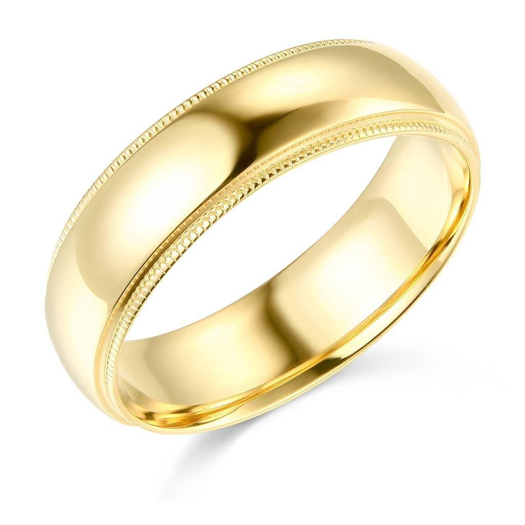 14k Yellow Gold 6mm SOLID Heavy COMFORT FIT Plain Milgrain Wedding Band - Size 7.5