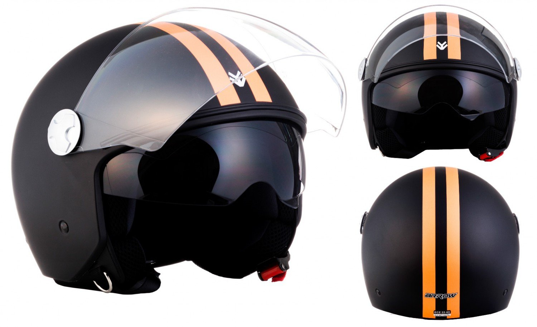 "63-64cm black /· Casco moto Demi Jet /· Urbano Retro Scooter motocicleta Helmet Urban /· ECE certificado /· Separate Visors /· Click-n-Secure/™ Clip /· XXL Armor /· AV-63 /""Fun Matt Black/"""
