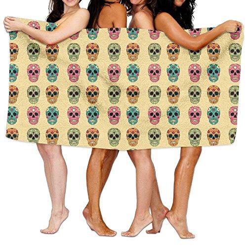 Carmen A Rainbow Diamond Mexican Skulls Bath Towel Adult Microfiber Towel 31 X 51 Inch Bath Sheet by Carmen A