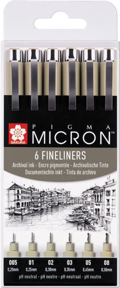 PIGMA MICRON Fineliner SET (6 Stifte, schwarz) Sakura POXSDK6