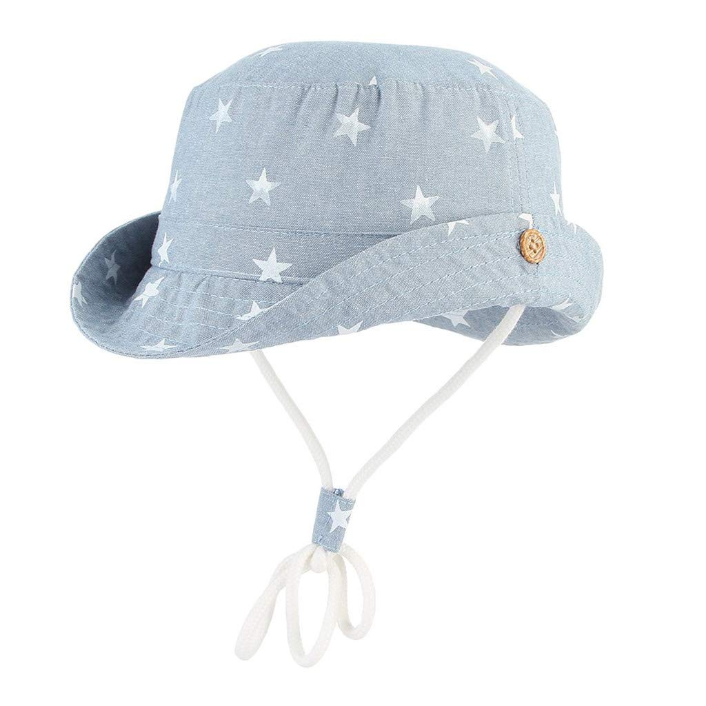 Tantisy ♣↭♣ Sun Hats for Infants ☘ Baby Girl Boy Star Print Fisherman's Hat Adjustable Breathable Bucket Cap Sunscreen Cap Light Blue