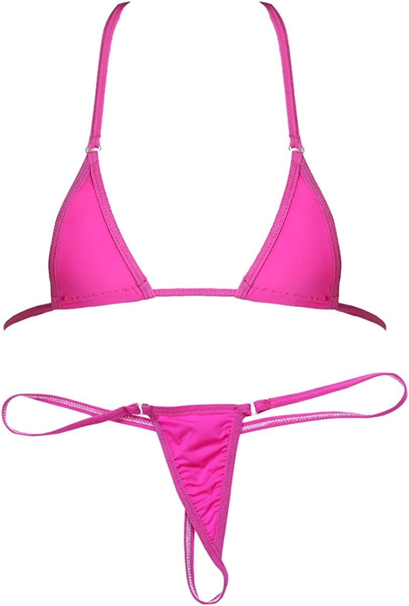 iixpin 2Pcs Womens Micro G-String Bikini Sliding Top Thong Small Bra Swimsuit Set