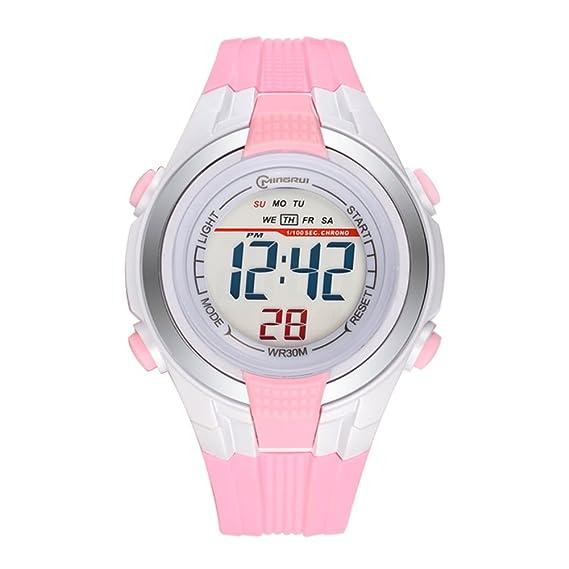 Relojes para niños/Chicas deporte impermeables relojes digitales/ tiempo alarma estudiante formulario electrónico-C: Amazon.es: Relojes