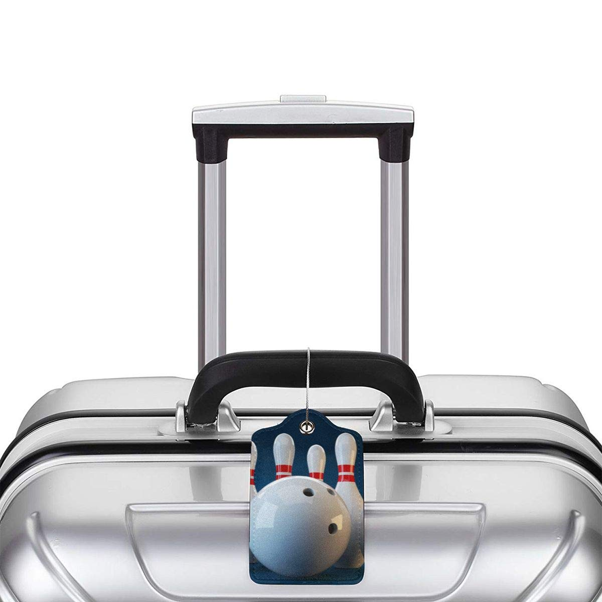 Bowling Material Travel Luggage Tags With Full Privacy Cover Leather Case And Stainless Steel Loop