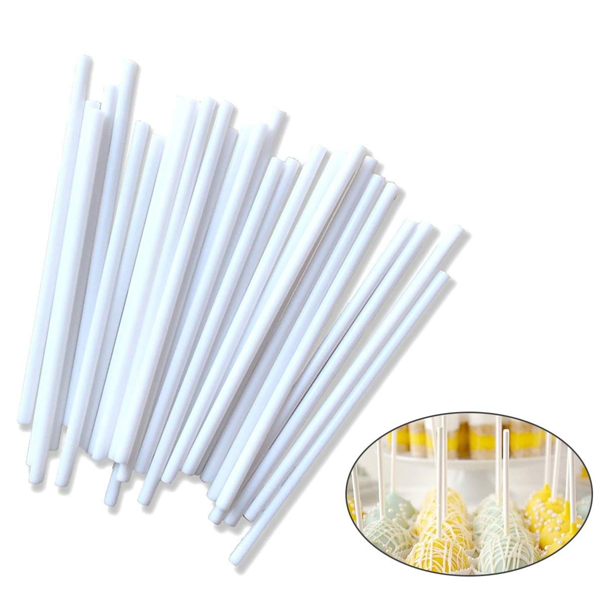 Aolvo Sucker Lollipop Sticks 4 Inch CHocolate Cake Candy Making Sticks DIY Hand Crafts(White)