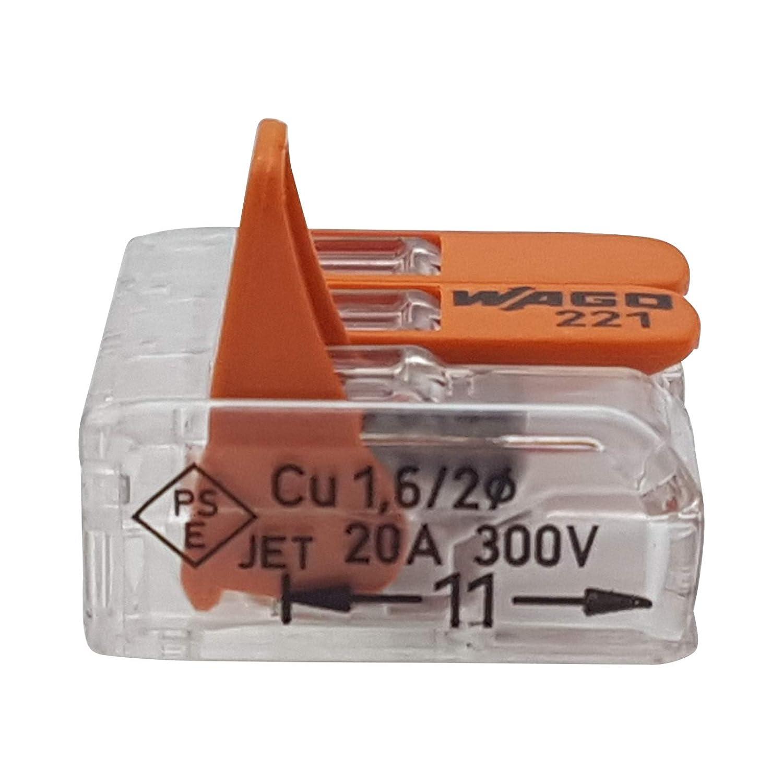 20 unidades Wago 221-615 terminal de conexi/ón 5 hilos con palanca 0,5-6 qmm dise/ño peque/ño transparente
