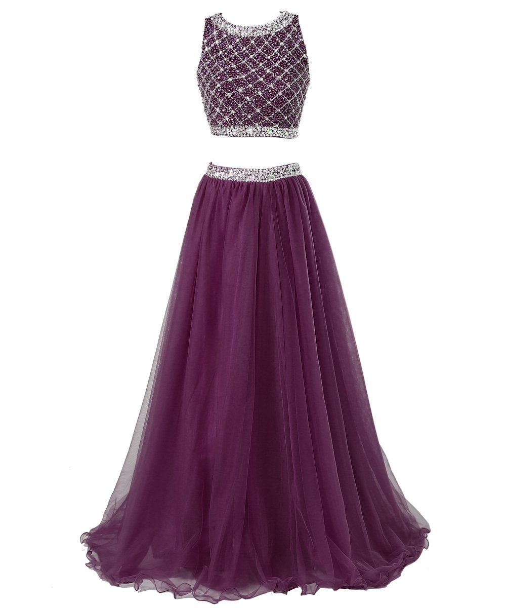 Callmelady Two Piece Long Prom Dresses For Women With Sleeveless Sequined Top (Grape, US17W) by Callmelady (Image #1)