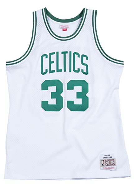 a2952072 Mitchell & Ness Larry Bird Boston Celtics NBA White 1985-86 Hardwood  Classics Swingman Throwback