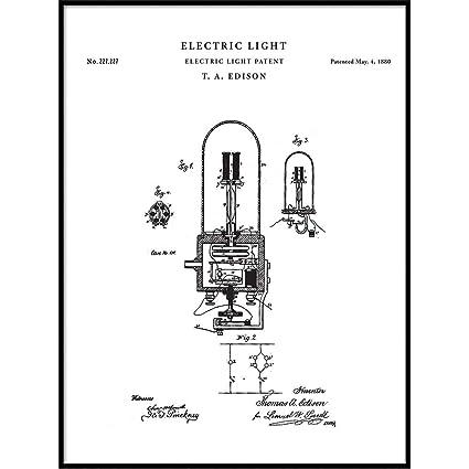 Amazon Com Patent Print Thomas Edison Electric Light Patent Wall