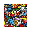 """Scottshop Custom Romero Britto Gallery Wrapped Canvas Print 16"""" x 16"""" Inch - Stretched and Framed Ready to Hang Bedroom/Living Room Decorations Canvas Wall Art by Scottshop"""