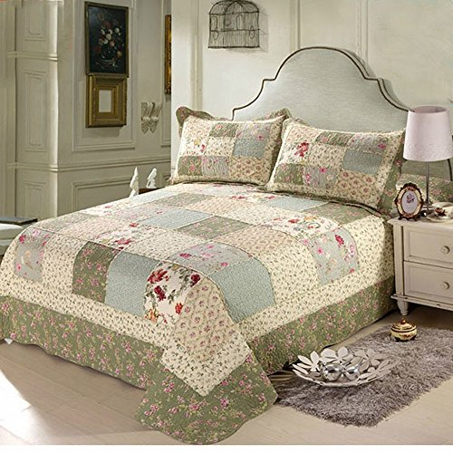 Alicemall Pastoral Bed in a Bag Ultra Soft Countryside Checkered Bedspread/ Quilt Set, Patchwork Floral Coverlet Set, 3 Pieces, Queen Size, Green Color (Green) (Countryside Quilts)