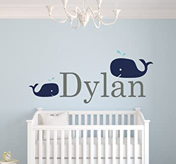 Amazoncom Custom Whale Name Wall Decals For Boys Baby Room - Baby room decals